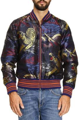 Gucci Jacket Silk Mixed Brocade Bomber Jacket With Tiger Embroidery And Striped Pattern In Wool And Alpaca