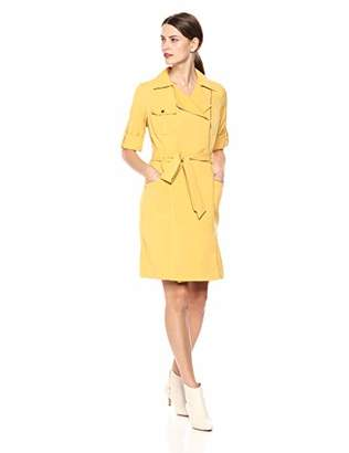 Sharagano Women's Shirt Dress with Assymetric Collar