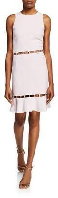 Jonathan Simkhai Studded Sleeveless Flounce Cocktail Dress w/ Cutouts