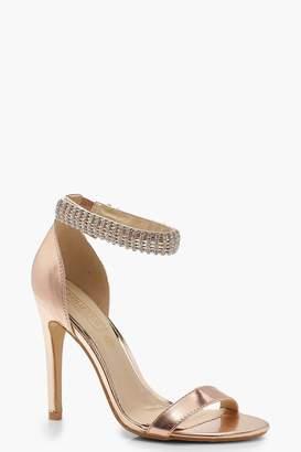 boohoo Embellished Ankle Strap 2 Part Heels