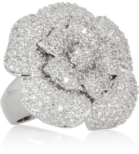Kenneth Jay Lane Rhodium-plated cubic zirconia flower ring
