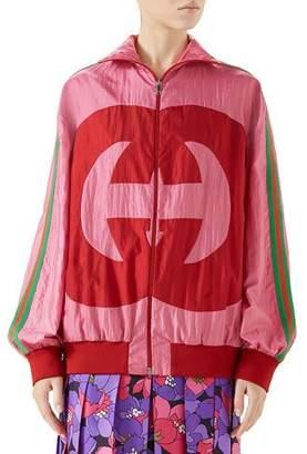 1d384425d Gucci Zip-Front Technical Nylon Jacket w/ GG Intarsia