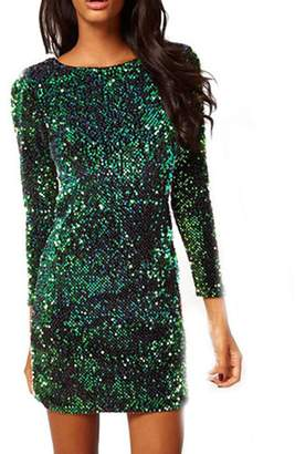 Come On Comeon New Women Sexy Long Sleeve Sequin Backless Hip Dress (S)