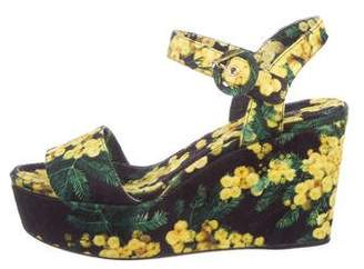 Dolce & Gabbana Floral Wedge Sandals w/ Tags