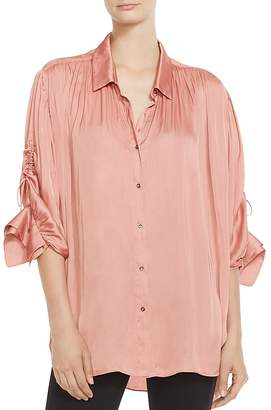 Halston Ruched Button-Down Shirt