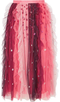 Needle & Thread Rainbow Embellished Tulle Midi Skirt - Burgundy