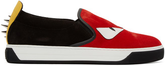 Fendi Red & Black Monster Slip-On Sneakers $700 thestylecure.com