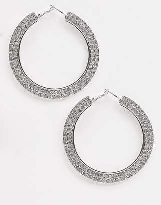 Missguided double row hoop crystal earrings