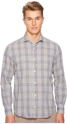Eleventy Plaid Spread Collar Shirt
