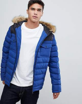 Burton Menswear puffer jacket with cut & sew detail in blue