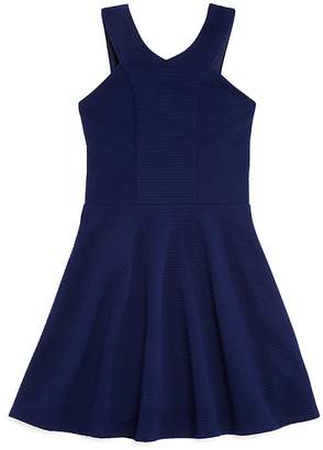 Sally Miller Girls' Textured Fit-and-Flare Dress - Big Kid