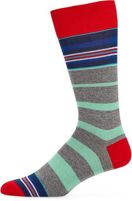 Bugatchi Men's Multicolor Striped Socks, Ruby
