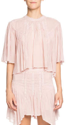 Etoile Isabel Marant Algar Embroidered Flowy Short-Sleeve Top