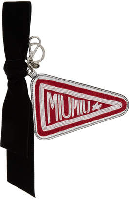 Miu Miu Red and Silver Emblem Keychain