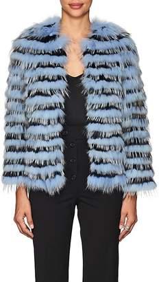 Barneys New York Women's Striped Rabbit & Fox Fur Jacket