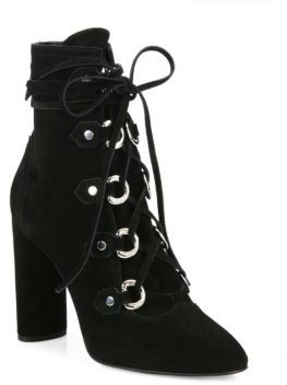 Casadei Lace-Up Suede Block-Heel Booties $950 thestylecure.com