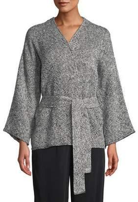 Eileen Fisher Bracelet-Sleeve Cotton Kimono Short Jacket, Plus Size