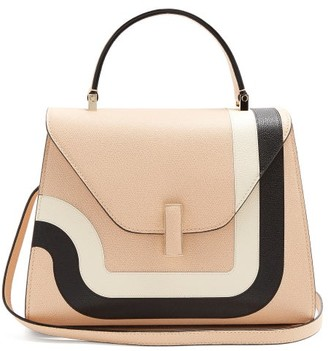 Valextra Iside Medium Striped Grained Leather Bag - Womens - Light Pink