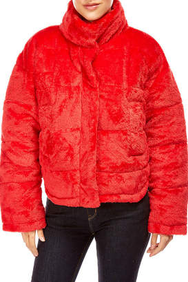 Best Mountain Cropped Faux Fur Puffer Jacket