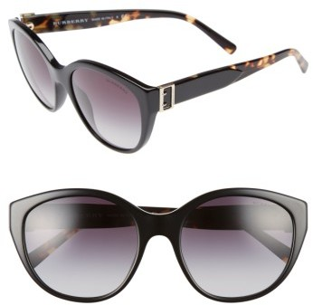 Women's Burberry 55Mm Gradient Cat Eye Sunglasses - Black