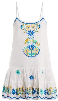 Juliet Dunn Floral Embroidered Cotton Dress - Womens - White Multi