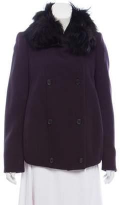 Prada Mink Fur Trim Wool Coat purple Mink Fur Trim Wool Coat