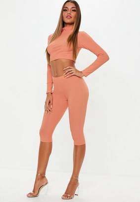 Missguided Terracotta Biker Shorts And High Neck Long Sleeve Crop Top Co Ord