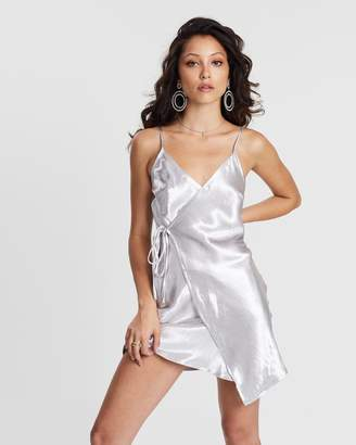 Missguided Asymmetric Hammered Satin Wrap Mini Dress