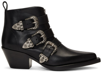 R 13 Black Three-Buckle Ankle Boots