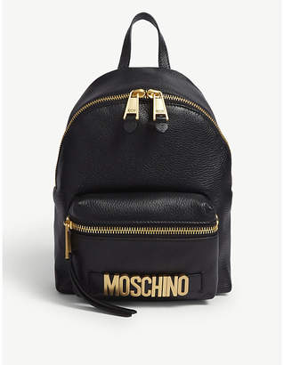 Moschino Black and Gold Logo Leather Backpack