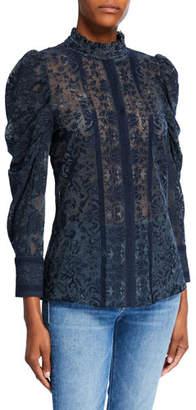 Kobi Halperin Genna Puff-Sleeve Mock-Neck Lace Blouse
