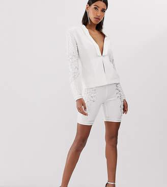 Starlet embellished front legging short in white