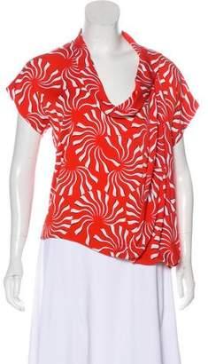 Diane von Furstenberg Hermera Red Short Sleeve Top