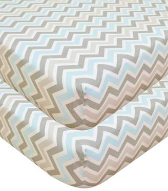 American Baby Company 100% Cotton Percale Fitted Crib Sheet, Blue ZigZag, 2 Count