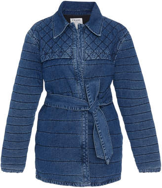 Frame Belted Quilted Denim Jacket