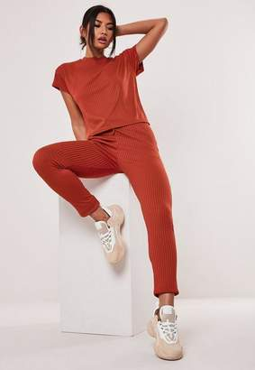 Missguided Rust Co Ord Rib T Shirt And Jogger Set