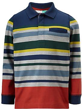 John Lewis Boys' Stripe Long Sleeve Polo Top, Multi