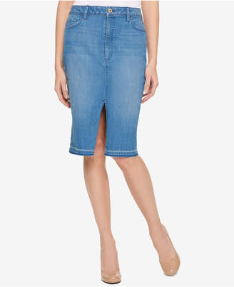 Tommy Hilfiger Released-Hem Retro Blue Wash Denim Skirt, Only at Macy's $59.50 thestylecure.com