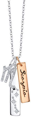Unwritten Cz Constellation Scorpio Zodiac Pendant Necklace with Two-Tone Silver Plated Charms on Sterling Silver Chain, 18""