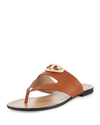 Tory Burch Sydney Leather Logo Thong Sandal, Brown $225 thestylecure.com
