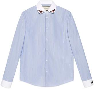 Gucci Striped cotton Duke shirt with embroideries