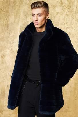 boohoo Stripe Luxe Faux Fur Overcoat