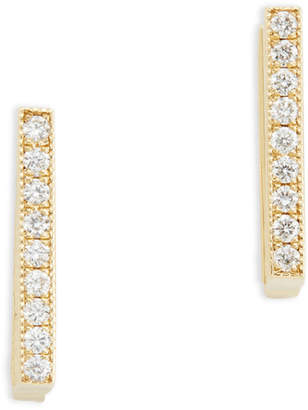 Lizzie Mandler Petit Pave Diamond Square Yellow-Gold Huggies Earring