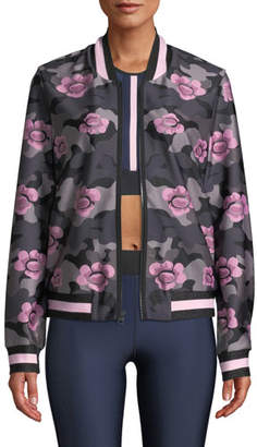 ULTRACOR Collegiate Floral Zip-Front Bomber Jacket