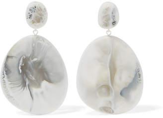 Dinosaur Designs River Stone Resin Earrings - White