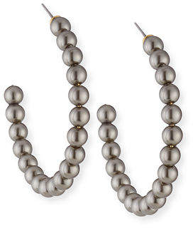 Lele Sadoughi Pearly Beaded Hoop Earrings