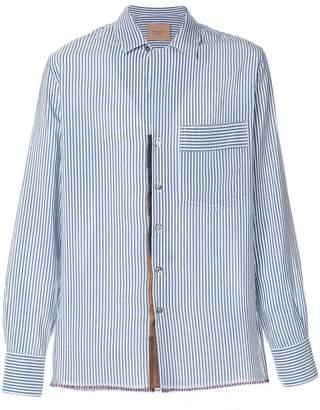 Federico Curradi striped frayed hem shirt