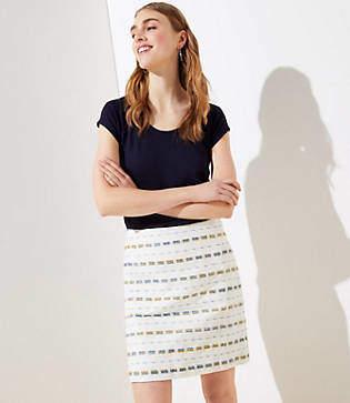 LOFT Striped Boucle Shift Skirt