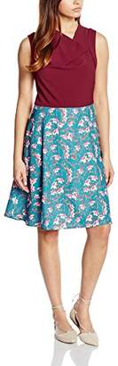 Almost Famous Women's Painted Floral Skirt A-Line Sleeveless Dress