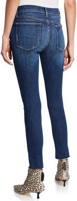 Frame Le High Skinny RV Slit-Hem Jeans with Ripped Knees